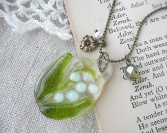 Fused Glass  Necklace, Lily of the valley,Made To Order