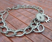 Steampunk Layered Double Chain Antique Silver Finish Bracelet