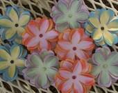 SALE Was 7.95 - Now 4.95 Paper Flowers Assortment Pink Orange Blue Green Yellow LavenderPastelsSetOfNine