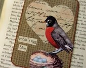 SALE ACEO ATC collage and handstamped original art card 'Robin's Egg Blue'
