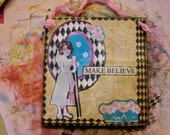 """50% off SALE - ooak Mixed Media """"MAKE BELIEVE"""" - Collage and Ink - Paper Bag Hang-Up"""