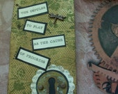 "OOAK Mixed Media Assemblage Tag/Bookmark  ""The Impulse To Play"""