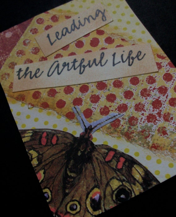 ACEO OOAK ATC collage and handstamped original art card