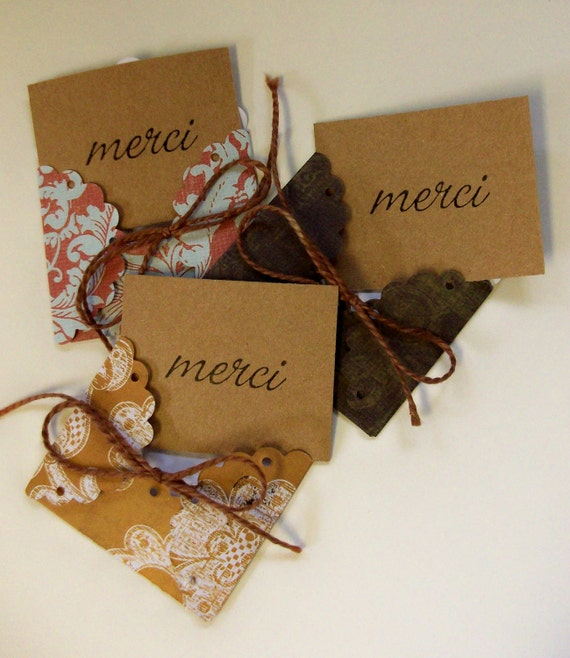 "LAST SET - 3 Handmade Mini Envelopes with ""MERCI"" cards"