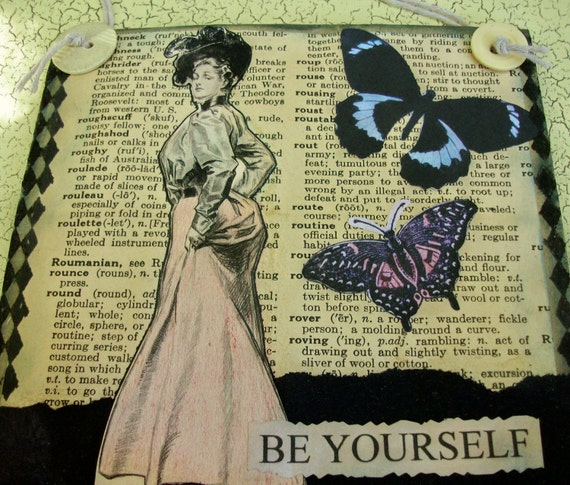 """SALE - OOAK Mixed Media """"Be YOURSELF"""" - Collage and Ink - Paper Bag Hang-Up"""
