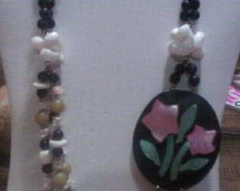 Black Beaded and Shelled and Mother Of Pearl Flower