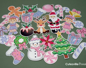PRINTABLE Pdf Pink Christmas Collage Craft Sheets - INSTANT DOWNLOAD