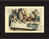 Alice In Wonderland Tea Party Print on upcycled Vintage  Dictionary Page mixed media digital