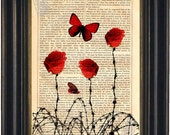 Red Rose Barbed Wire Print on Upcycled  Vintage 1860's Page