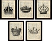 Crown Print  Set of 5 Beautiful Crown Prints on Upcycled 1896 Latin English Dictionary Page mixed media