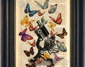 Vintage Microscope with Multi Colourful  Butterflies print on vintage  upcycled book page mixed media  digital
