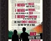 Nick Drake Northern Sky song lyric Print on upcycled Vintage Page