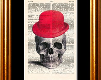 Red Bowler Hat Skull Print on vintage upcycled page