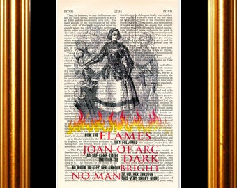 Leonard Cohen Joan of Arc lyric on upcycled Vintage Page