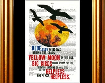 Neil Young Helpless song lyric Print on upcycled Vintage Page mixed media  digital