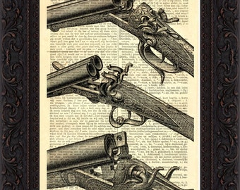 Antique Shotgun engraving Print on upcycled Vintage Dictionary Page mixed media