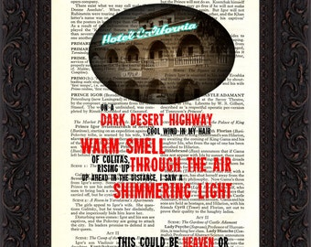The Eagles Hotel California Song Lyrics print on upcycled Vintage Page mixed media  digital