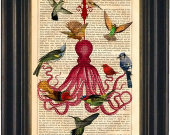 Octopus Chandelier with Birds Altered Art  print on vintage (1850's) upcycled book page mixed media digital