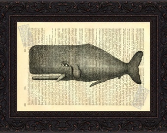 Whale Print - Very Old Whale Antique engraving ( 1800's ) Print on Vintage Repurposed Dictionary Page mixed media  digital