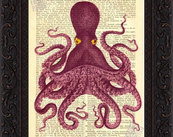 Octopus Print - Exotic Colored Octopus with Yellow eyes Altered  Art Print on Vintage Repurposed Dictionary Page mixed media  digital
