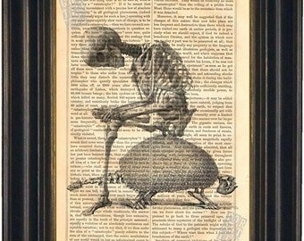 Skeleton and Armadillo  print on vintage (1860's) upcycled book page mixed media  digital