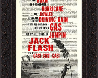 Jumping Jack Flash song lyric  Print on upcycled  Vintage Guide to Music Page