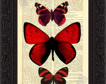 Bright Red Butterflies Print on repurposed vintage dictionary page mixed media