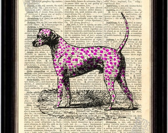 Dog Print - Magenta  Dalmation Dog Print on Upcycled 1890's Latin English Dictionary Page digital mixed media