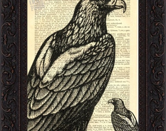 Eagle engraving Print on Upcycled 1890's French Dictionary Page mixed media digital