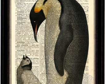 Emperor Penguin and Chick  Print on Upcycled 1896 Latin English Dictionary Page mixed media art prrint digital collage