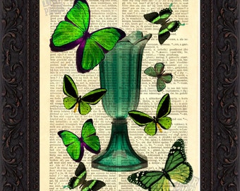 Green  Butterflies on Green Glass vase Print on vintage upcycled page mixed media digital