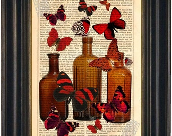 Red Butterflies on antique Bottles Print on vintage upcycled page mixed media digital