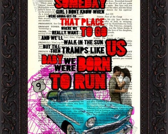 Bruce Springsteen Born To Run  song lyric Print on upcycled Vintage Page