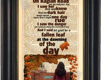 Patrick Kavanagh and The Dubliners Raglan Road Print on upcycled Vintage Page