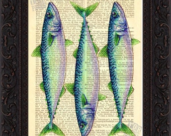 Mackerel 3 Altered  Art Print on Vintage Repurposed Dictionary Page