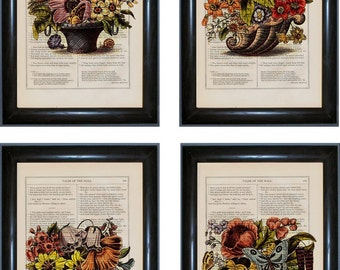 Set Of 4 Floral Prints  on upcycled Vintage 1860's Pages
