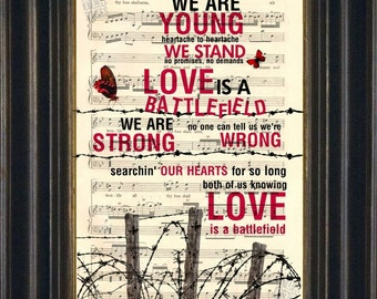 Pat Benatar Love Is a Battlefield Print on Recycled 1900 Sheet Music page