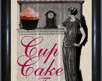 Cupcake Print - Cupcake Time on repurposed  encyclopaedia Page mixed media digital
