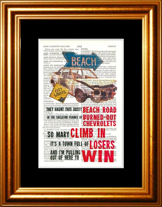 Bruce Springsteen Thunder Road song lyric Print on upcycled Vintage Page