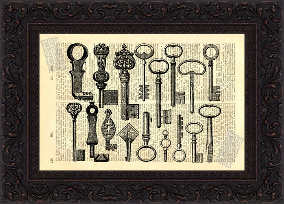 Collection of Antique Keys  Print on Vintage Repurposed Dictionary Page mixed media  digital
