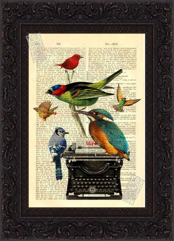 Birds with Typewriter  Print on vintage French English Dictionary Page mixed media digital