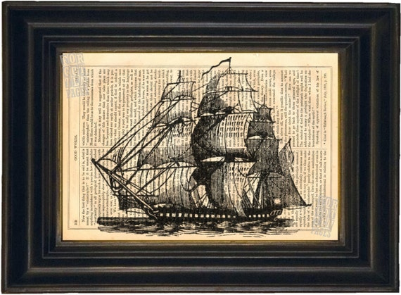 Engraving of Frigate Sailing Ship  Print on Upcycled 1860's Antique Page mixed media digital