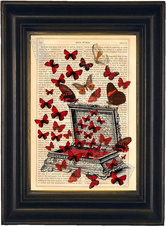 Bright Red Butterflies on Jewellery Box  Print on repurposed vintage 1860's page mixed media digital