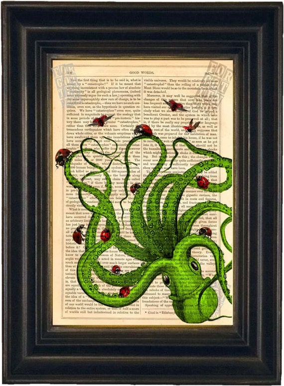Exotic Colored Octopus with Ladybugs Altered  Art Antique engraving Print on Vintage Repurposed 1860's Page mixed media  digital