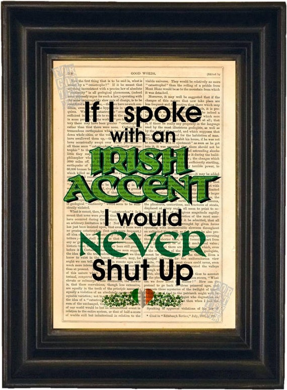If I spoke with an Irish Accent  Print on upcycled Vintage Page mixed media digital