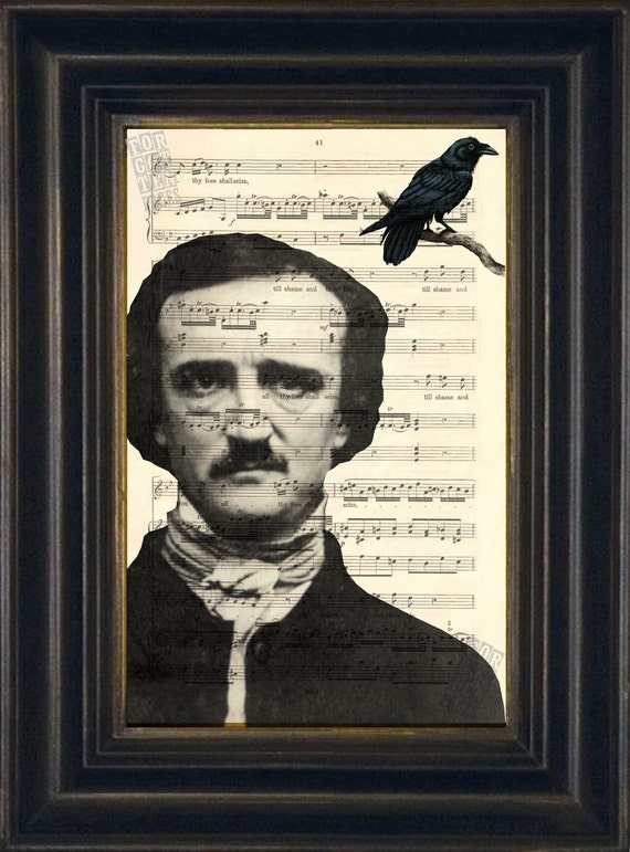 Edgar Allen Poe with Raven Print on upcycled Vintage Sheet Music Page mixed media  digital