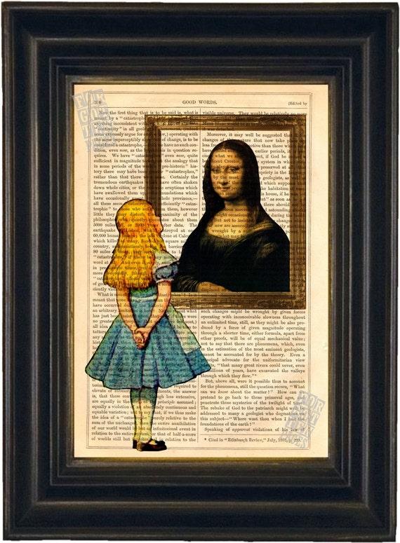 Alice Print     Alice meets Mona Lisa Print on upcycled Vintage Page mixed media original digital print