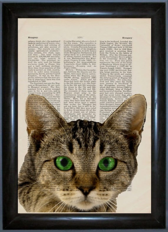 Cat with Green Eyes Print on repurposed vintage Spanish encyclopaedia page