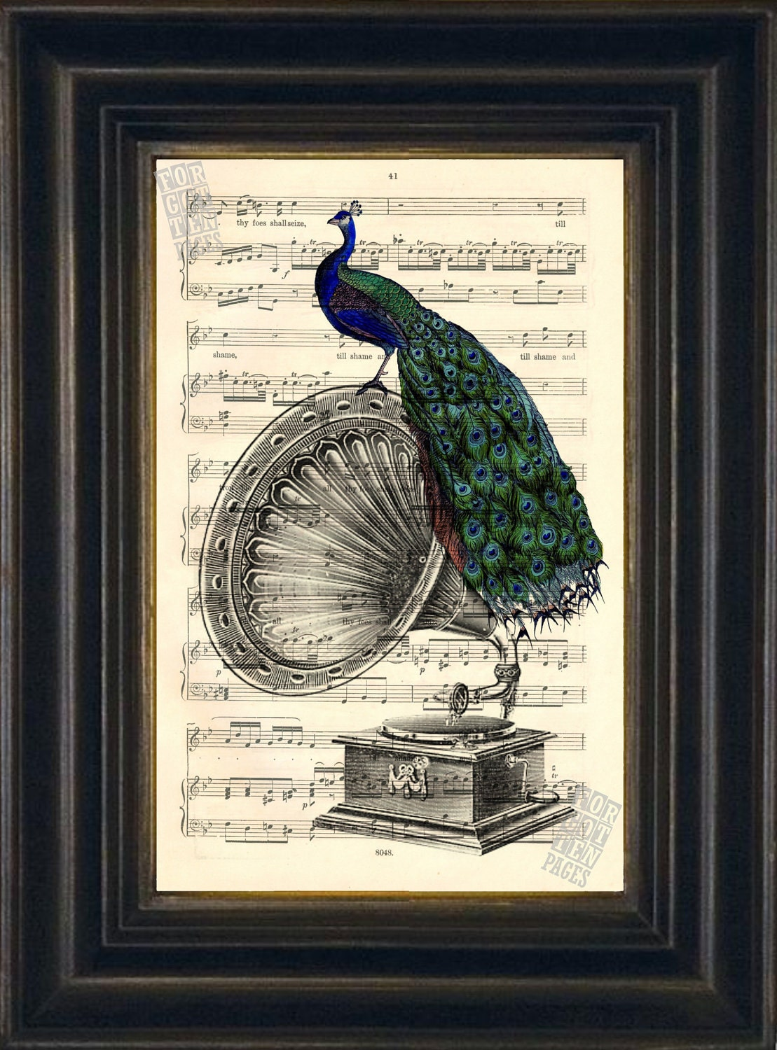 Peacock Print Engraving Of Vintage Gramophone With Perched