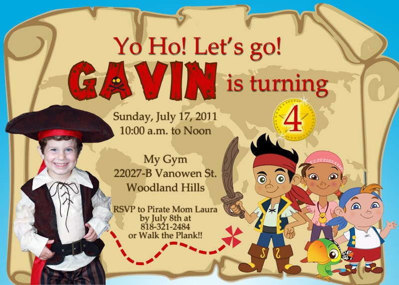 jake and the neverland pirates birthday invitations – gangcraft, Invitation templates